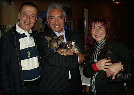 Cesar Millan (middle) with Fred and Luana Osmani